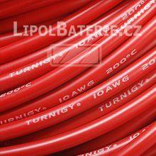 Kabel silicon 10 AWG červený